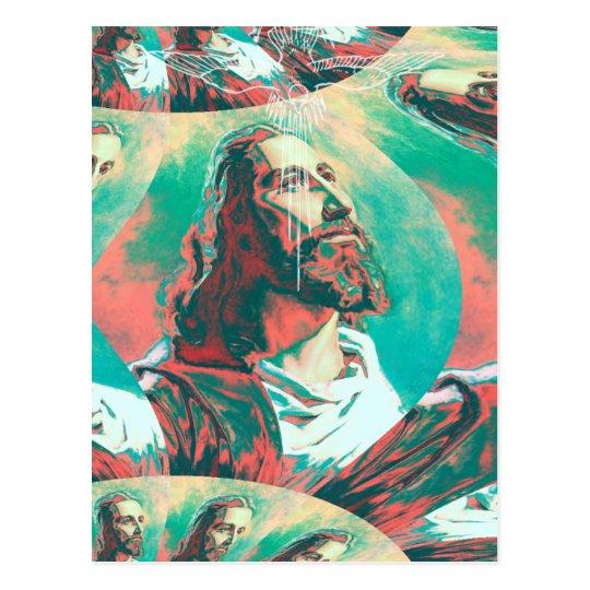 Jesus Christ Fractal Dove Peace Posterised Postcard