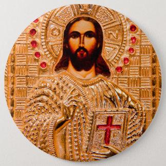 Jesus christ golden icon 6 cm round badge