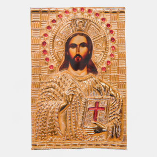 Jesus christ golden icon tea towel