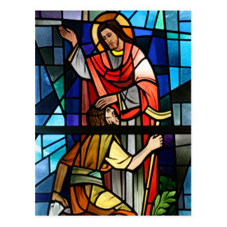 Jesus Christ Healing the Lame Stained Glass Art Postcard