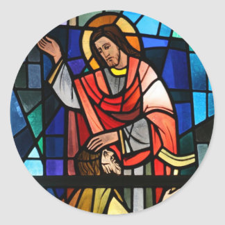 Jesus Christ  Healing the Lame Stained Glass Art Stickers
