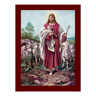 Jesus Christ Lamb Love Painting Shepherd Vintage