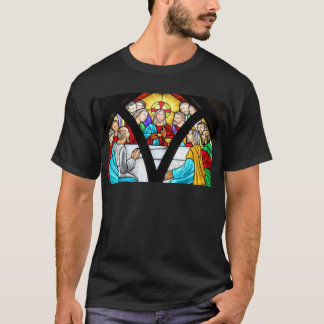 Jesus Christ Last Supper Stained Glass Window T-Shirt