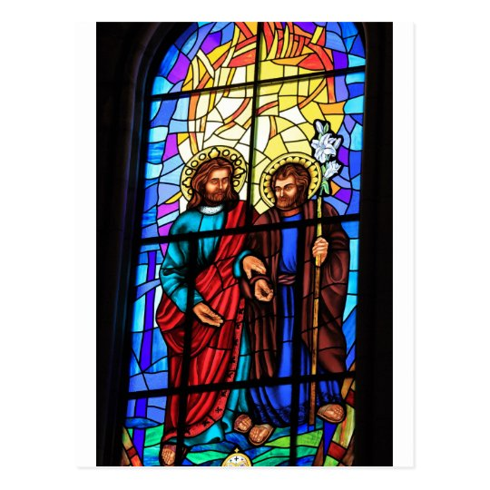 Jesus Christ my shepherd stained glass window Postcard
