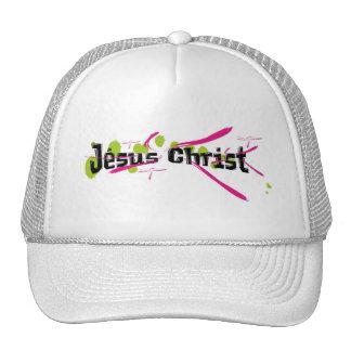 Jésus Christ Noir sur taches vertes traits roses Hats