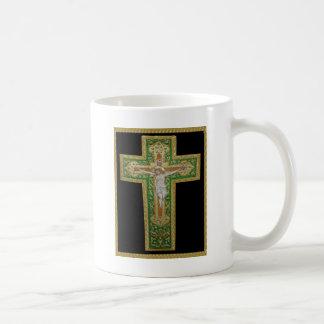 Jesus Christ on the Cross Green Silk Religous Art Mug