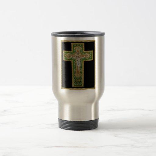 Jesus Christ on the Cross. Green Silk Religous Art Coffee Mugs