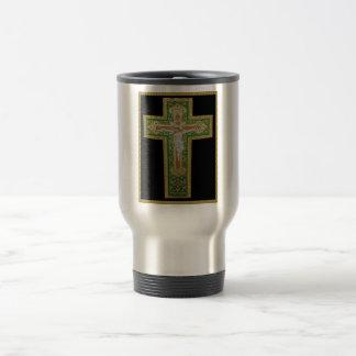 Jesus Christ on the Cross. Green Silk Religous Art Stainless Steel Travel Mug