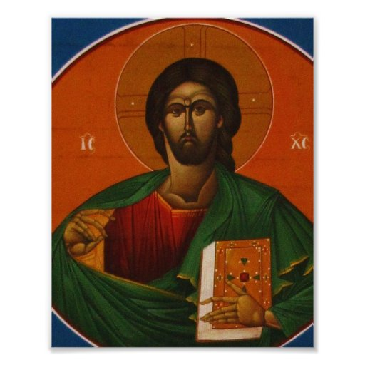 Jesus Christ Orthodox Christian Icon painting Poster