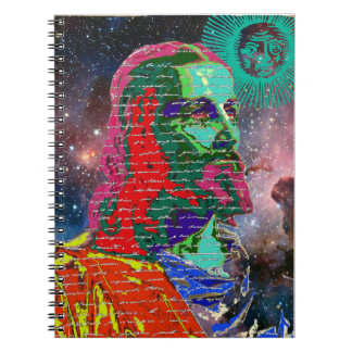 Jesus Christ Outer Space Galaxy Cosmos Stars Sun Spiral Notebook