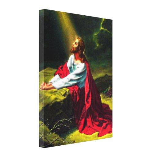 Jesus Christ Praying in the Garden of Gethsemane Canvas Print
