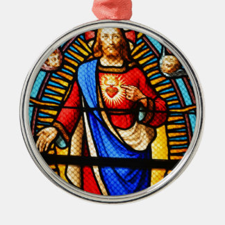 Jesus Christ Silver-Colored Round Decoration