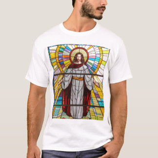 Jesus Christ Stained Glass Mural T-Shirt