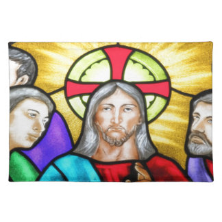 Jesus Christ stained glass window Place Mat