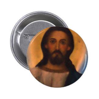 Jesus Christ Vintage Hand Painted Orthodox Icon 6 Cm Round Badge