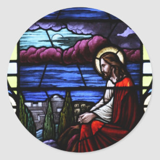 Jesus Christ Weeps over Jerusalem Stained Glass Round Stickers