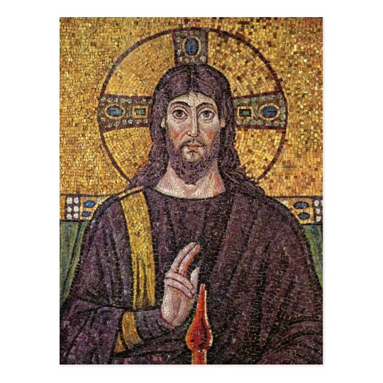 Jesus Christ with Holy Spirit Flame Mosaic Postcard