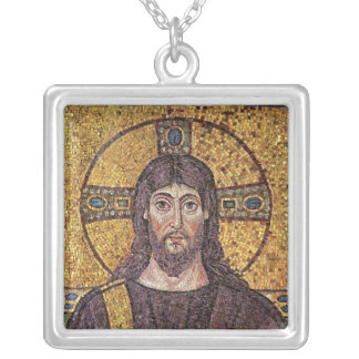 Jesus Christ with Holy Spirit Flame Mosaic Silver Plated Necklace