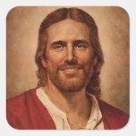 Jesus Christ's Loving Smile Square Stickers