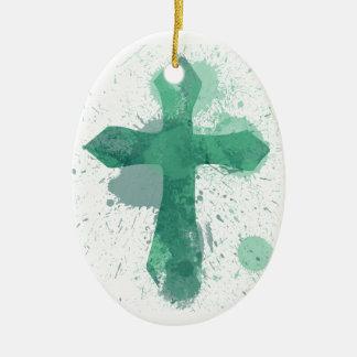 Jesus Cross Art Christmas Ornament