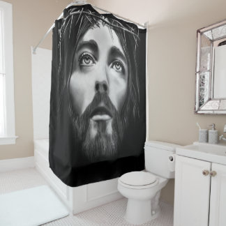 Jesus cross black white showercurtain shower curtain