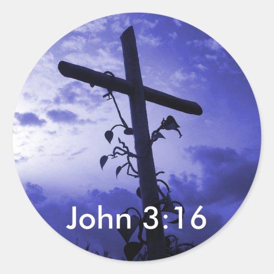 Jesus Cross of Calvary John 3:16 Sticker