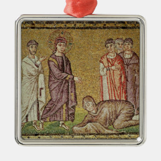 Jesus Cures the Woman who Bleeds Silver-Colored Square Decoration