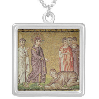 Jesus Cures the Woman who Bleeds Silver Plated Necklace