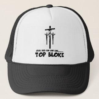 Jesus died for our sins trucker hat