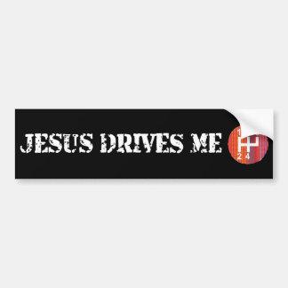 Jesus Drives Me black Christian bumper sticker