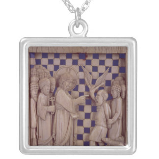Jesus driving out the unclean spirit, relief silver plated necklace