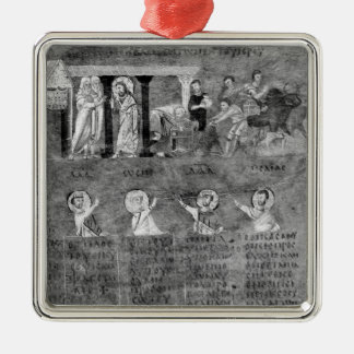 Jesus driving the merchants from the Temple Silver-Colored Square Decoration