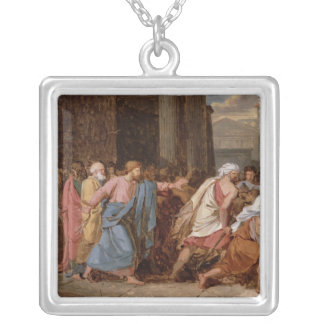 Jesus Driving the Merchants from the Temple Silver Plated Necklace