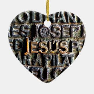 Jesus etched metal ceramic heart decoration