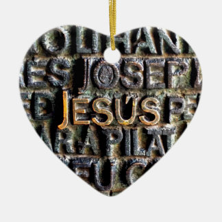 Jesus etched metal christmas ornament