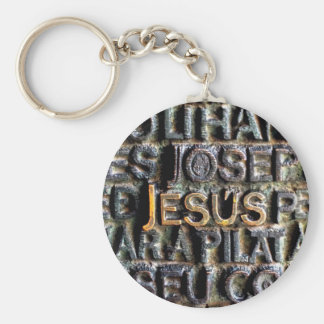 Jesus etched metal key ring