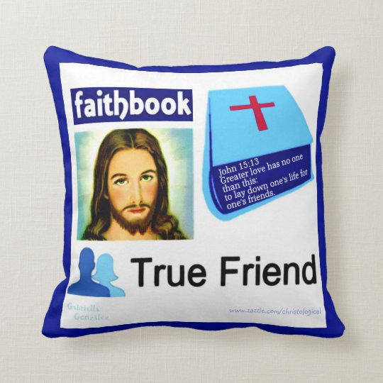 Jesus fb Faith Book True Friend Throw Pillow