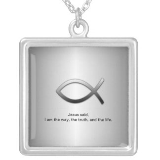 Jesus Fish Christian Ichthys with Scripture Silver Plated Necklace