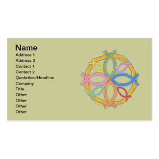 JESUS FISH CIRCLE DESIGN PACK OF STANDARD BUSINESS CARDS