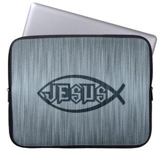 Jesus Fish Ichthys Fish Metallic Look Laptop Computer Sleeve