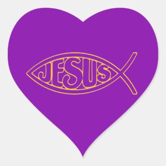 JESUS FISH ICHTHYS PURPLE GOLD CHRIST HEART STICKER