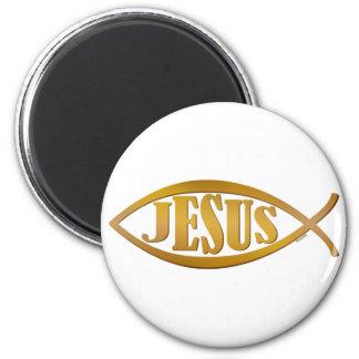 Jesus fish symbol christian gift 6 cm round magnet