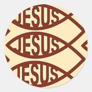 Jesus Fish Symbol Classic Round Sticker