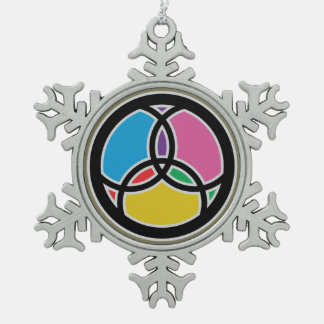 Jesus Fish Trinity Stained Glass - Multicolored Snowflake Pewter Christmas Ornament