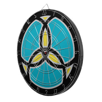 Jesus Fish Trinity Stained Glass - teal Dartboards