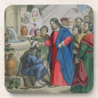Jesus Gives Sight to One Born Blind, from a bible Beverage Coaster