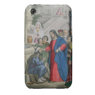 Jesus Gives Sight to One Born Blind, from a bible iPhone 3 Case