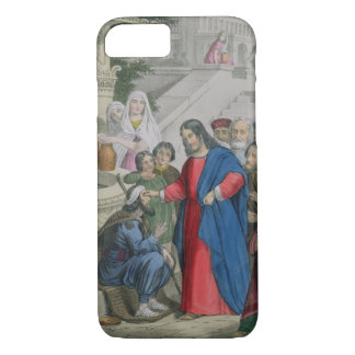 Jesus Gives Sight to One Born Blind, from a bible iPhone 8/7 Case