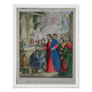 Jesus Gives Sight to One Born Blind, from a bible Poster