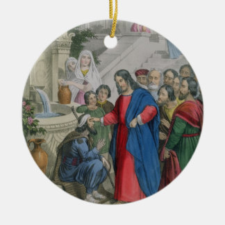 Jesus Gives Sight to One Born Blind, from a bible Round Ceramic Decoration
